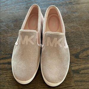 Michael Kora suede slip on sneaker with wedge